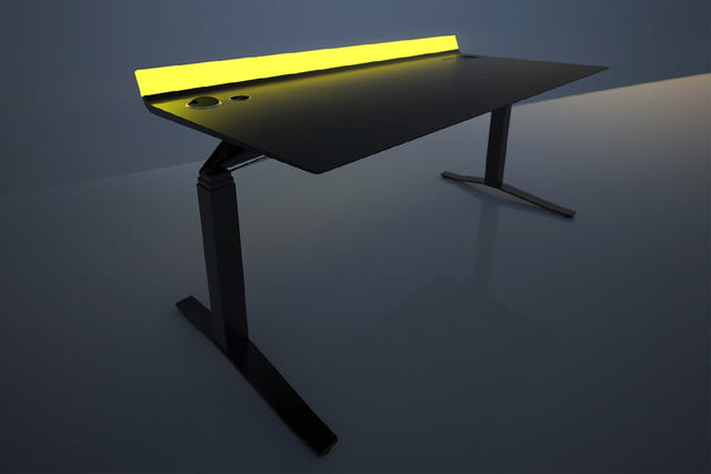 High Tech Desk high-tech standing desk comes with a light bar to help make you