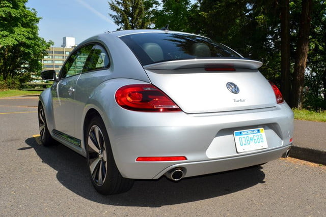 2012 volkswagen beetle review rear angle