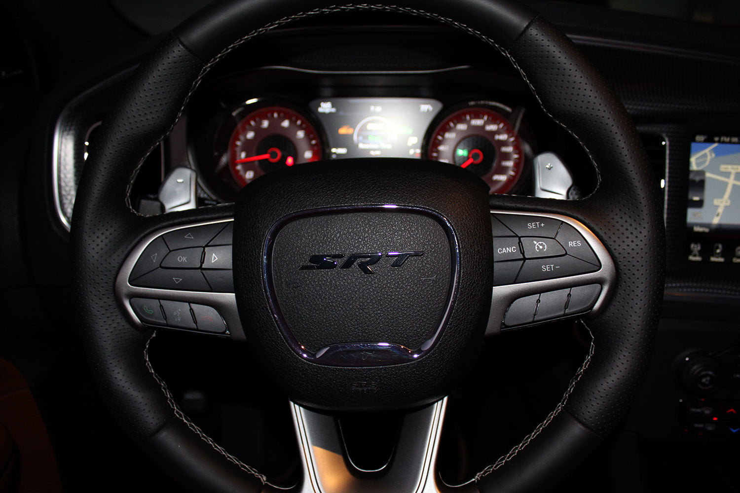 2015 Dodge Charger Srt Hellcat Review Digital Trends Cat Steering Wheel