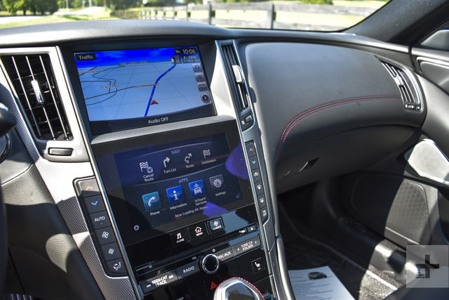 2018 Infiniti Q50 infotainment and dashboard shot from the driver's side