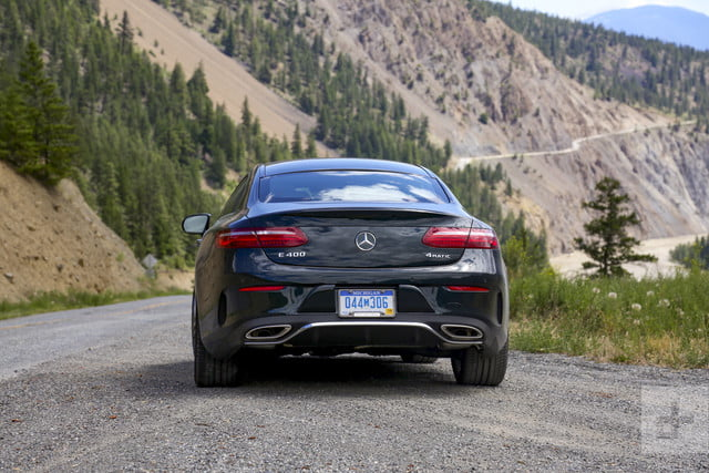 e400 coupe backside-shot-directly-behind-mountainy-road