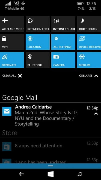 windows 10 technical preview phone hands on action center