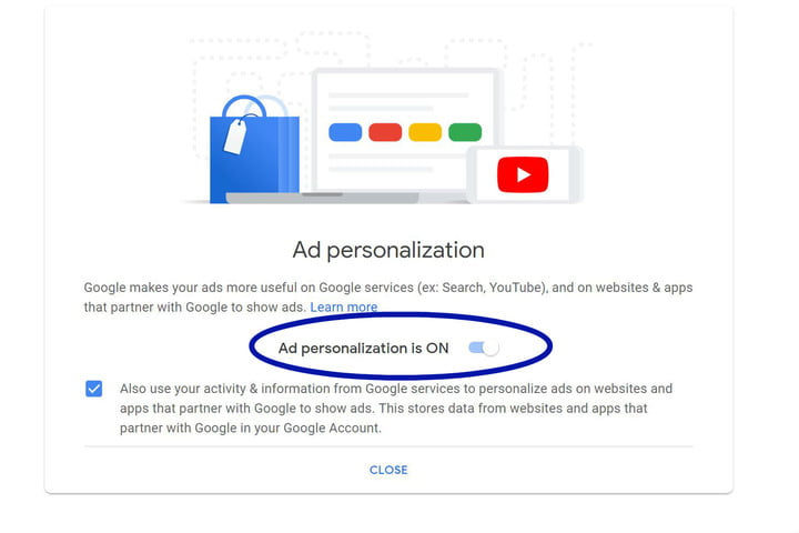 how to turn off targeted ads in google adpersonalization