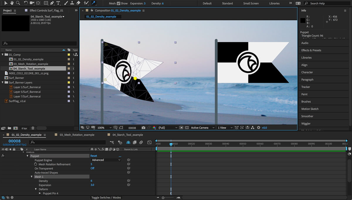 adobe premiere pro color match auto ducking after effects  advanced puppet tool