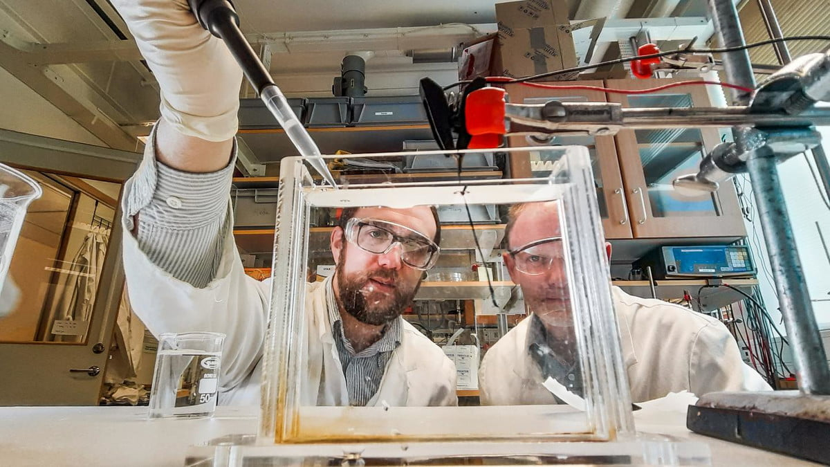 Researchers at Linköping University working in a lab