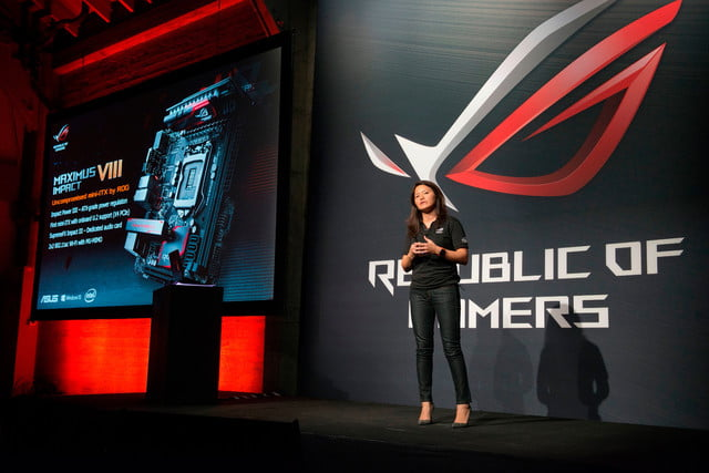 asus republic of gamers unleashed north america cmo vivian lien introduces the newest mini itx motherboard rog ma  1