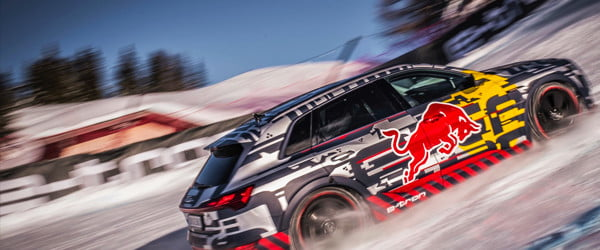 Watch a modified Audi e-tron electric SUV drive straight up a ski slope