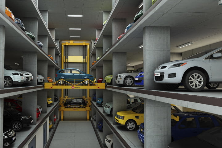 automated car parking robot valet garage avsrs interior of system