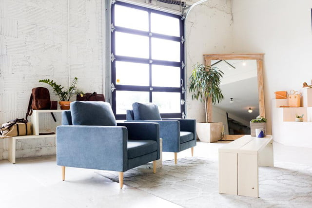 Campaign Furniture blue chairs