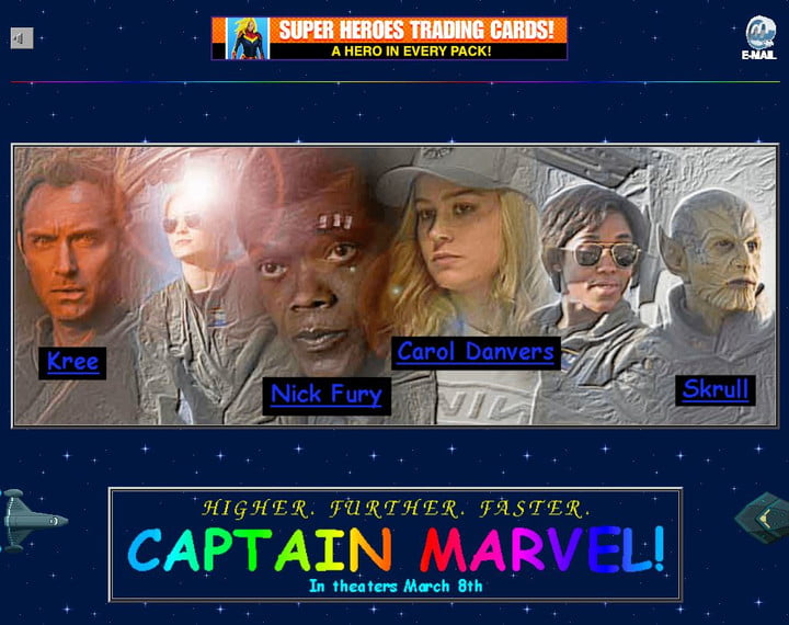 Transport yourself back to the web of the 90s with the 'Captain Marvel' website