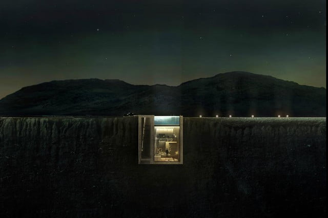 casa brutale is a conceptual cliff house on the aegean sea concept night