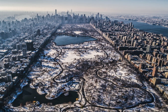 best drone photos central park snowfall credit dronestagram by b  dumas