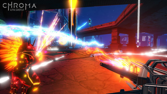 chroma mixes music first person shooting thumping neon landscapes alpha screenshot 01