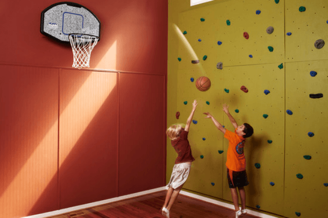 homes with indoor basketball courts designing solutions court climbing wall
