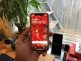 iPhone X with a supported app