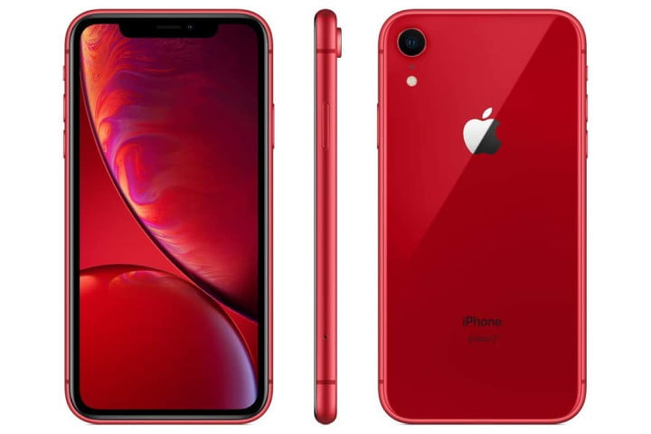 Picture shows the front, back, and side view of a red iPhone XR