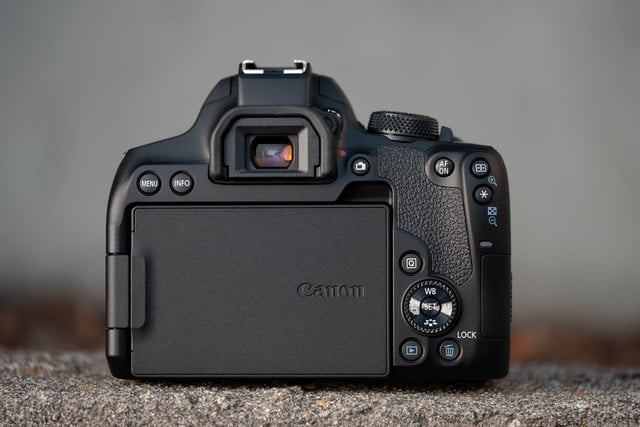 Product photo of Canon EOS Rebel T8i, back with screen hidden