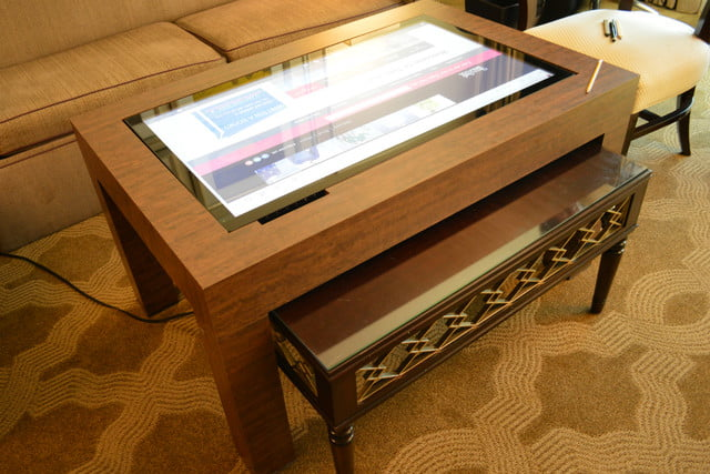 cima wants to put 40 inch touchscreens in coffee tables table far view