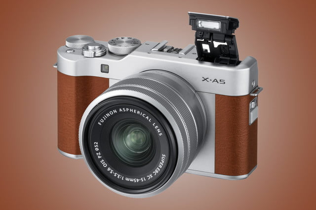 Fujifilm X-A5 brown with 15-45mm kit lens
