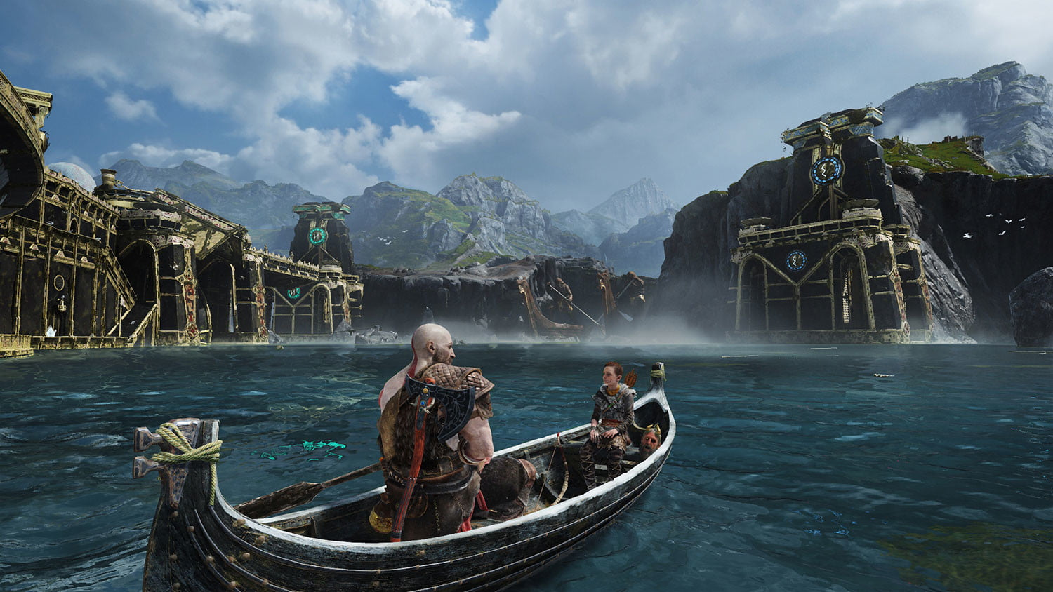 God of War Review | Kratos and Atreus cross a large waterway