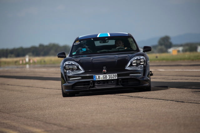 porsche taycan electric car prototype goes 0 124 mph 26 times in a row acceleration testing