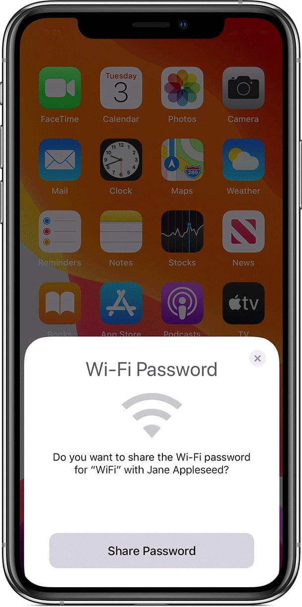 how to share your wi fi password from ios device ios13 iphone xs wifi animation 5  dragged