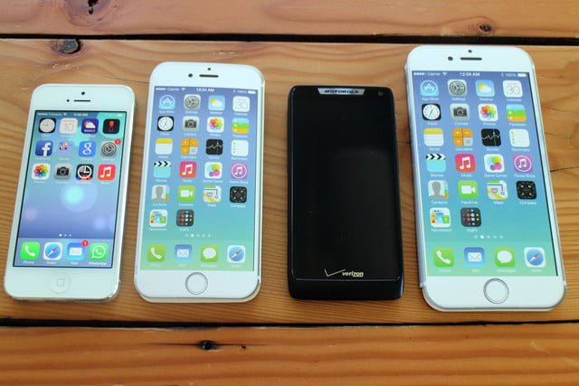 iPhone 5, iPhone 6, Motorola Droid, and iPhone 6 Plus