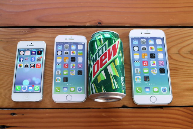 iPhone 5, iPhone 6, pop can, and iPhone 6 Plus