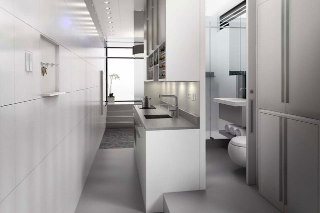 kasita is a tiny apartment that moves between cities interior kitchen bath laundry 1440x960