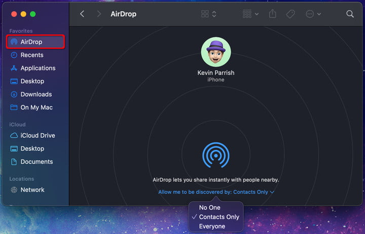 MacOS Select AirDrop Mode