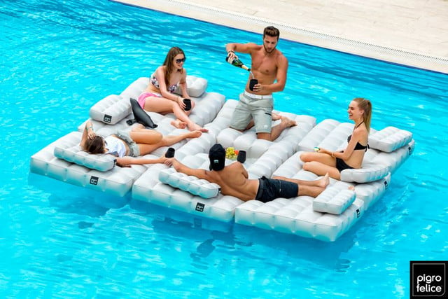 Pigro Felice inflatable furniture – floating lounger party