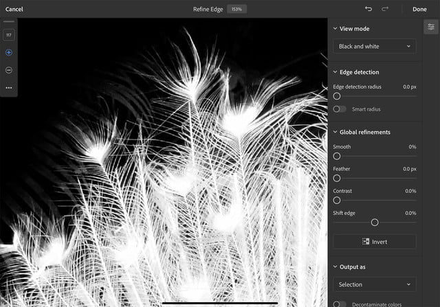 how to use photoshop for ipad refine edge peacock copy