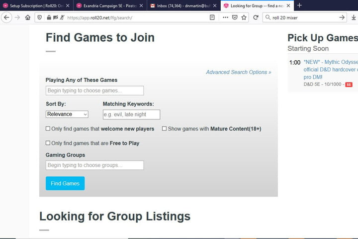 Picture of Roll20 looking for group page