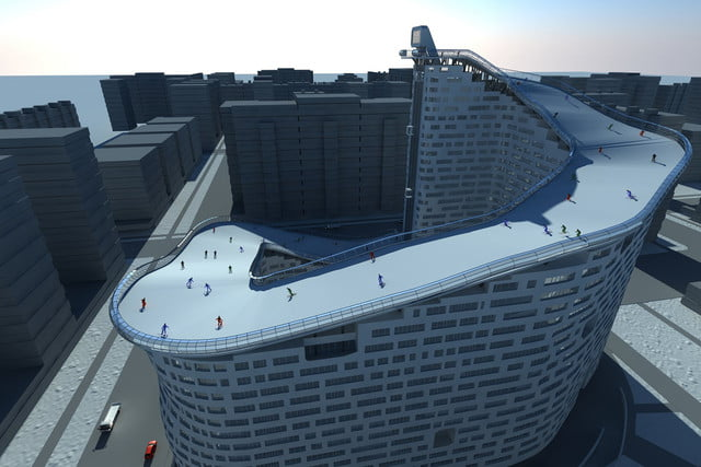 house slalom is an apartment building with a ski slope concept shokhan mataibekov 003
