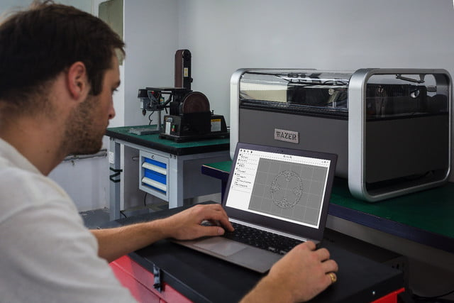 wazer waterjet cutter kickstarter software being used