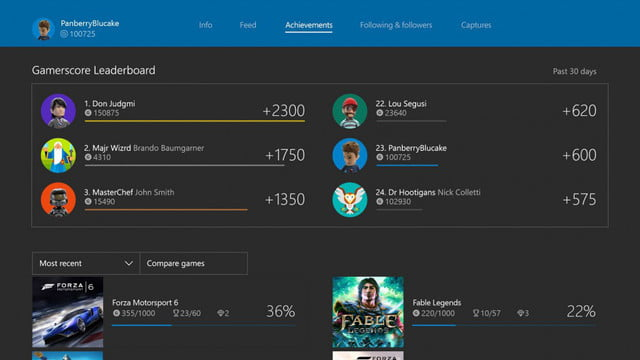 xbox one february update improves parties adds gamerscore leaderboards leaderboard