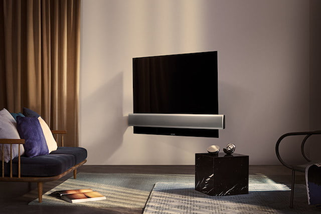 bang olufsen beovision televisor oled eclipse  wall bracket alu speaker cover angle from lifestyle