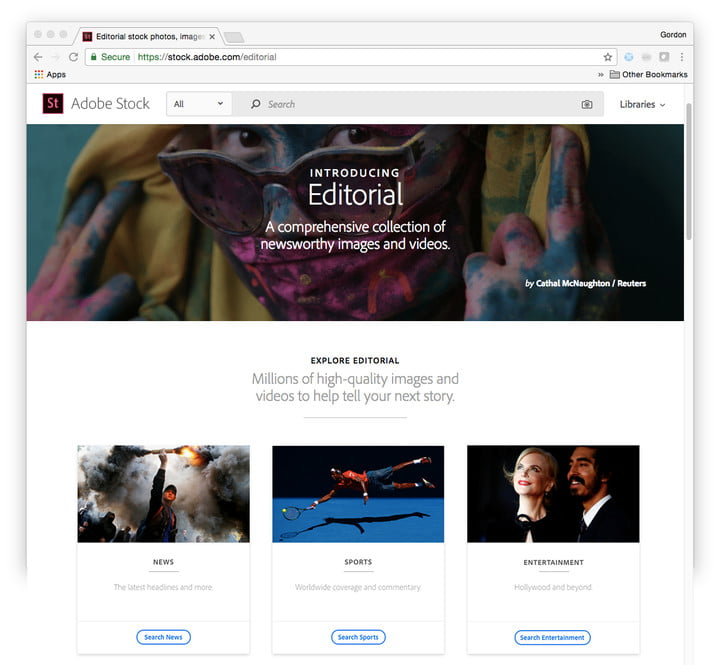 adobe stock editorial aesthestic search powerpoint landing page