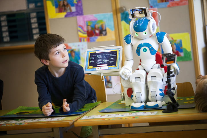 AI in education kid with robot
