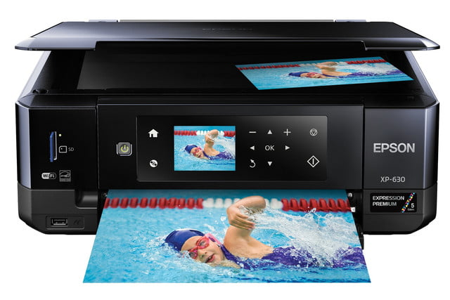 epsons updated expression home photo printers include wide format model epson xp 630 front view