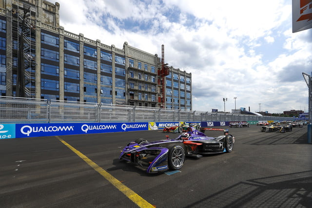 Racers lined up for the start of the Formula E NYC ePrix