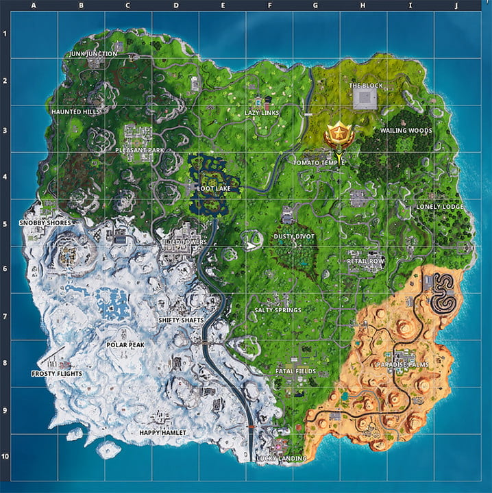 Battle Star Location on Map | fortnite season 7 week 5 challenges search between a giant rock man crowned tomato and encircled tree