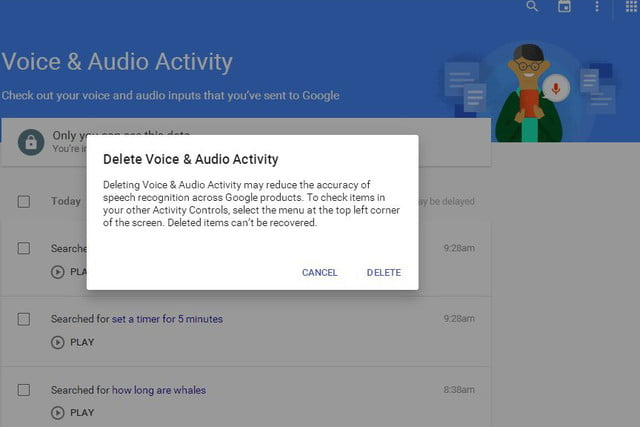 your audio will be sent to google to provide