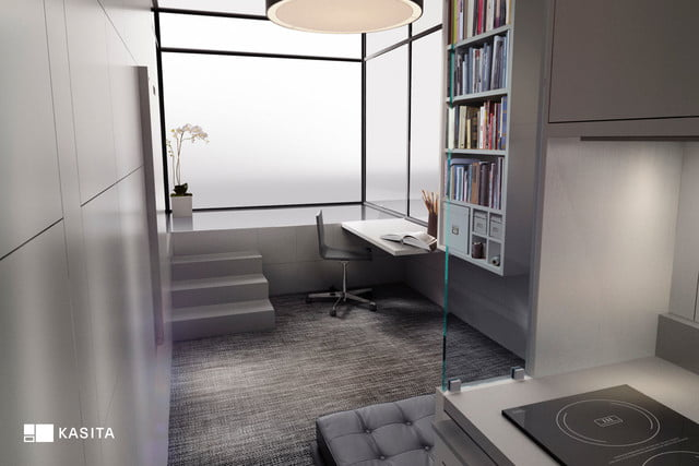 kasita is a tiny apartment that moves between cities interior from hallway bed slides out under couch