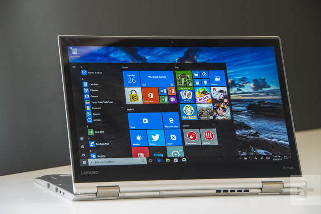 Horizontal tablet mode with the stand flat on the table— Lenovo ThinkPad X1 Yoga