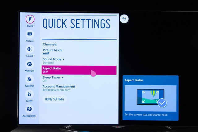 LG 65EC9700 4K OLED TV review quick settings