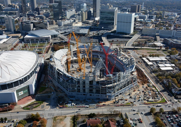 dt10 fans and players compete for stardom in the stadiums of future mercedes benz stadium construction 5