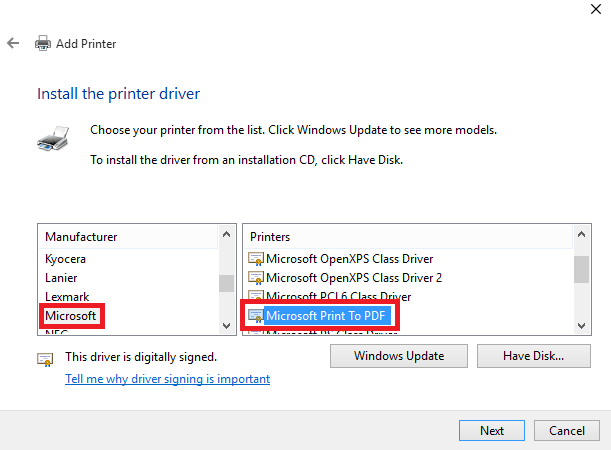 Print to PDF in Windows