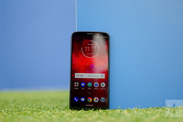 moto z3 play front against blue
