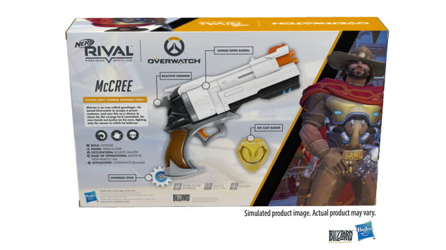 overwatch mccree nerf blaster announced rival edition in box pack back
